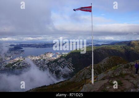 View of Bergen from Mount Fløyen - Stock Photo