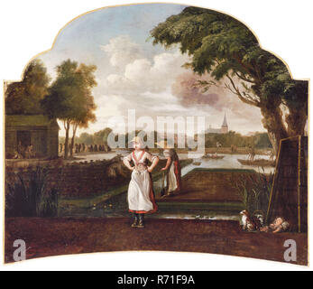 Upper door piece, peat cutting in Hillegersberg, Rotterdam, wallpaper painting canvas oil painting linen, Wallpaper Central to the show is young woman with wide-brimmed hat on her head, clogging wooden shoes with both hands in their side. Immediately behind this woman peeks peat with pitcher on the right-hand corner Right in the foreground little dog is watching next to lying sleeping child and wicker basket large trapezoidal turf tank stands upright behind this group of topography Hillegersberg peat peat cutter peat fuel Rotterdam - Stock Photo