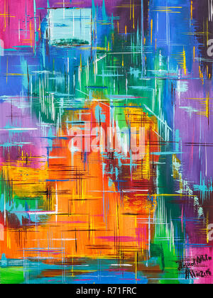 Colorful abstract art painting, contemporary art background - Stock Photo