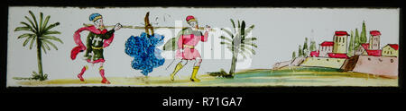 Hand-painted slide with the spies, slide plate slideshope images glass paper, Hand-painted slides with top and bottom edges of white-red checkered paper. Image of two men carrying large cluster of grapes on stick in an exotic landscape with palm trees The picture refers to the spies exploring Canaan and is based on the Bible (Numbers 13 verse 23) optics magic lantern magic lantern slide toy projecting exoticism bible spy religion - Stock Photo