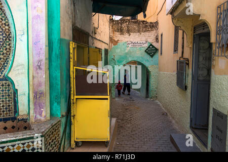 The town of Moulay Idriss is an important pilgrimage site, nestling in the Riif Mountains near Meknes - Stock Photo