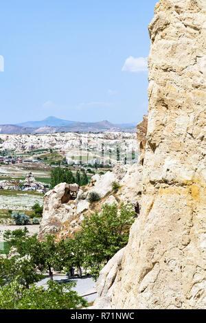 view of valley near Goreme town in Cappadocia - Stock Photo