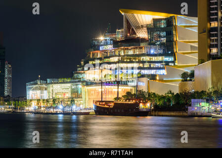Bangkok , Thailand - 23 Nov, 2018: ICONSIAM Shopping center with cloud on the sky in sunset time - Stock Photo
