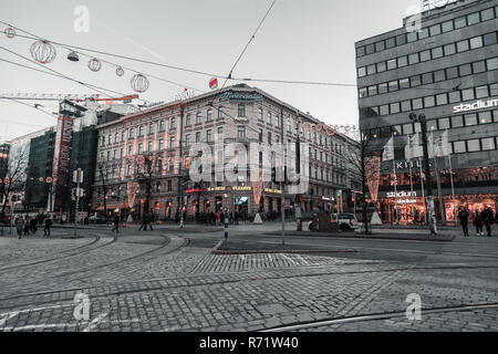 Editorial 11.17.2018 Helsinki Finland, View of the downtown on a moody autumn day - Stock Photo