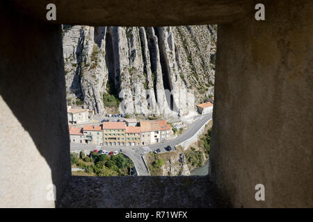 View over La Baume Rock Strata Formation from the Devil's Sentry-Box or Turret of the Citadel, Fort, Castle or Fortress Sisteron Provence France - Stock Photo