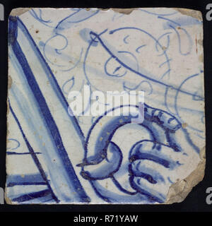 Loose tile from tableau 'Hoop' with robe, hand and part anchor, tile picture footage fragment ceramics pottery glaze tin glaze, in form made baked glazed painted baked Loose tile from tableau with monochrome decor in blue Originating from the tableau 'Hoop' Image is part of the anchor hand rests on the ring of the anchor in the background the robe of the woman who forms the personification of the hope of living Hope