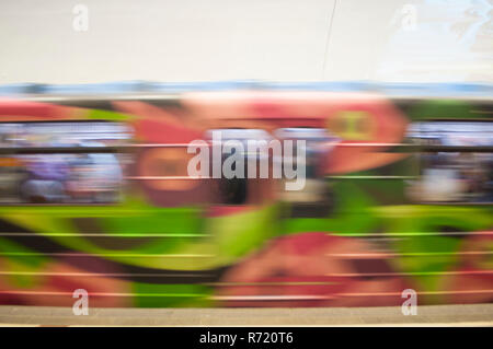 Train in motion in the subway as an abstract background. - Stock Photo