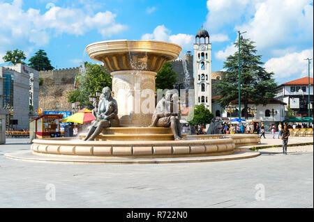 Olympias Monument and fountain, Skopje, Macedonia - Stock Photo