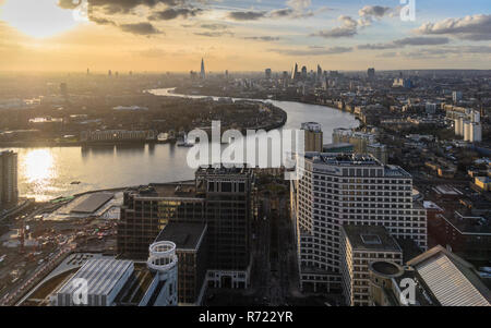 London, England, UK - February 27, 2015: Sunset over the skyline and skyscrapers of the City of London financial district and neighbouring boroughs of - Stock Photo