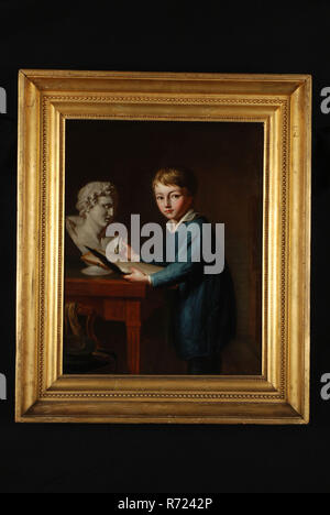 François Montauban van Swijndregt, Portrait of Charles Rochussen at the age of 11, portrait painting material linen oil painting, Portrait portrait of boy representing the painter Charles Rochussen as child (11 years old). With drawing pen (chalk) wiper (feather) and drawing board dressed in kind of painter's jacket and standing at table on which man's bust; in the foreground on the left in front of the table chair with scarf and fancy hat . In original gilded baklijst Painting of signature and year on edge: F.M.v.S. inV: & Fft 1825 children's portrait knee painting drawing drawing instruction
