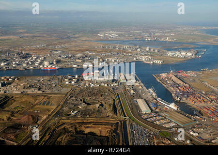 An aerial view of Teesport, Middlesborough, Teeside, North East England, UK - Stock Photo