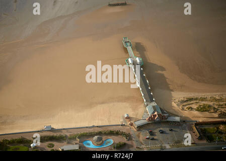 An aerial view of St Annes Pier, Lytham St Annes, North West England, UK - Stock Photo