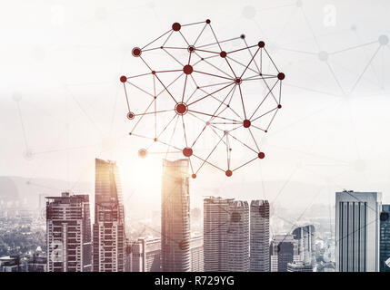 Modern city and social net as concept for global networking - Stock Photo