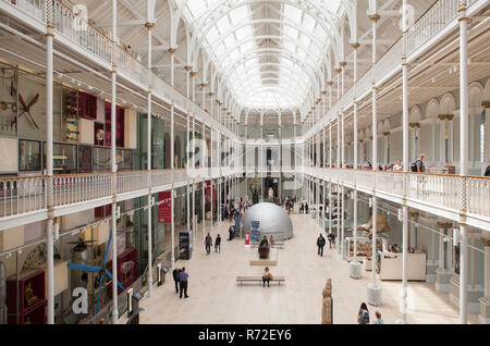 The interior of National Museum of Scotland in Edinburgh, Scotland - Stock Photo