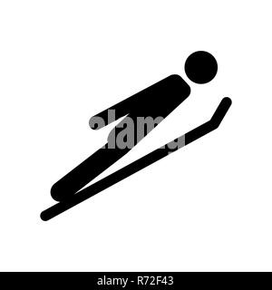 skier takes off winter sport pictogram vector illustration EPS10 - Stock Photo