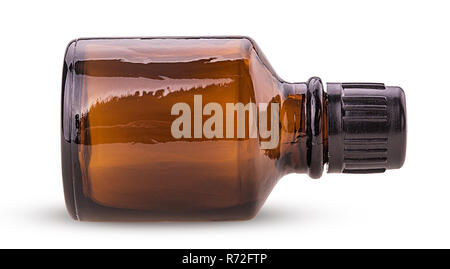 Brown glass jar isolated on white background. Clipping Path. Full depth of field. - Stock Photo