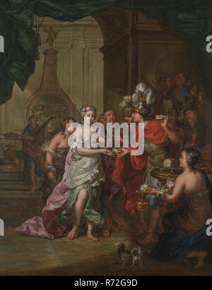 Gerard Sanders, The marriage of Alexander the Great with Roxane, princess of Bactria, painting visual material wood oil, Marriage takes place in front of Alexander's tent. He gives Roxane piece of bread that he has cut off from piece of bread in his other hand. To the right in the foreground bread on table. To the left in the background grisaille on which the judgment of Paris is depicted and which has been crowned with cupid with bow and arrows. Behind Alexander Hephaistion is visible Alexander's best friend advisor and army commander. Roxane is surrounded by her entourage painted below left: - Stock Photo