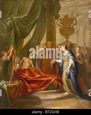 Elias van Nijmegen (Nijmegen 1667 - Rotterdam 1755), Antiochus and Stratonice, wallpaper painting painting linen oil paint, Antiochus the son of Seleucis king of Syria suffered from disease of unknown cause. The doctor Erasistratos was able to diagnose: Antiochus was deadly in love with Stratonike the young woman of his father and thus his stepmother. The therapy of Erasistratos consists of persuading Seleucis to give Stratonike to Antiochus. Thereafter Antiochus heals quickly. Seleucis also makes his son and wife king and queen. (Plutarchus Life of Demetrios) history piece classic generosity  - Stock Photo
