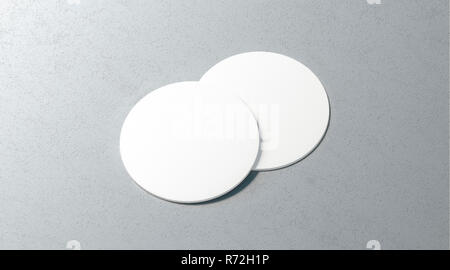 Blank white two beer coasters mockup set on surface, 3d rendering. Empty cork table-mat mock up, top view. Clear label plate for bottle protect template. - Stock Photo