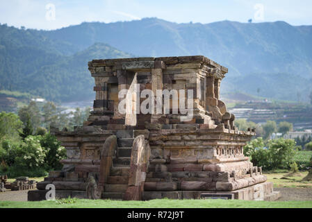 Candi Arjuna hindu temple, in Arjuna complex, Dieng Plateau, Central Java, Indonesia. - Stock Photo