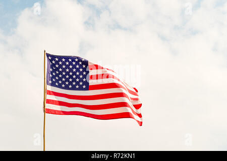 Flag of United States of America (USA) in the wind - Stock Photo