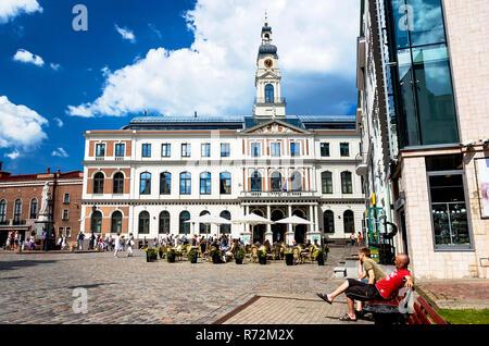 Rīgas Dome in Town Hall square, Riga, Latvia - Stock Photo