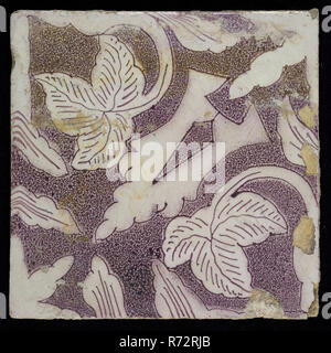 Sprinkled purple ornament tile, openwork stylized pointed leaf coming from corner, surrounded by creeper leaves, oak leaves, wall tile tile sculpture ceramic earthenware glaze, Baked 2x glazed painted Yellow shard square two nail holes. Purple on white. - Stock Photo