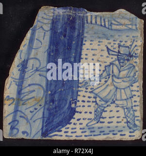 Loose tile of tableau 'Hoop', on which sower in blue, tile picture footage fragment ceramics pottery glaze tin glaze, in form made baked glazed painted baked Tile from tableau 'Hoop' sower on field is shown quite coarse. Left part of the robe of the woman who is the personification of hope. Gray-yellow baking scraped earthenware Marked on the backside location number on the backside: * 13 live