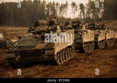 Warrior Armoured Fighting Vehicles of the UK Battlegroup NATO Enhanced Forward Presence in Estonia - Stock Photo