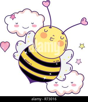 little bee with clouds kawaii character - Stock Photo
