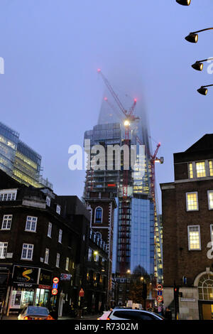 The Shard covered in cloud London UK - Stock Photo