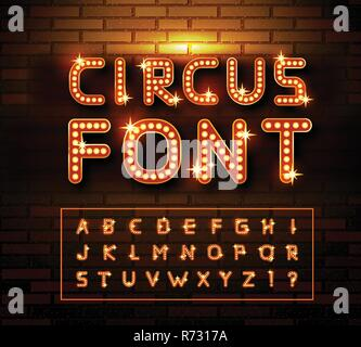 Circus marquee fonts on brick wall background. Vector - Stock Photo