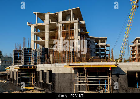 Design of reinforcement frame reinforcement for concrete frame house, brick house, formwork for concreting, construction site, construction of houses - Stock Photo