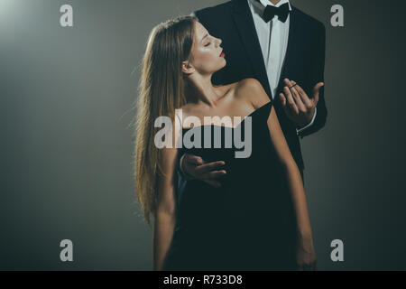 Valentines day. Love. Cute man and woman are dating. Loving couple together at business meeting. Elegant couple in love. Date of beautiful couple. Being in love. Love time  - Stock Photo