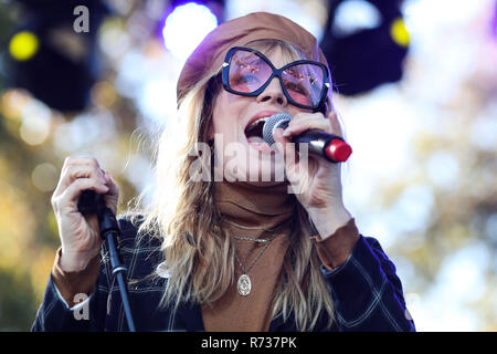 CALABASAS, LOS ANGELES, CA, USA - DECEMBER 02: Singer Natasha Bedingfield performs onstage at the One Love Malibu Festival Benefit Concert For Woolsey - Stock Photo