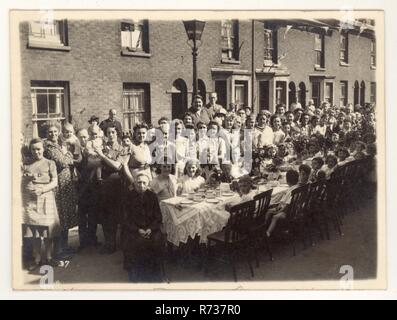 WW2 Street peace V.E. day party celebration unknown location, U.K. dated 12 May 1945 - Stock Photo
