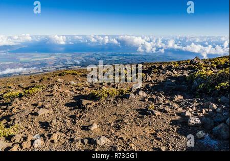 Looking North from the slopes of Haleakala On Maui, Hawaii, USA. - Stock Photo
