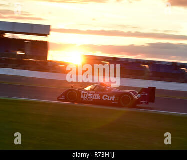 Christophe D'Ansembourg, Jaguar XJR14, Group C, Silverstone Classic 2016, July 2016, racing into the sunset, 60's cars, Chris McEvoy, cjm-photography, - Stock Photo