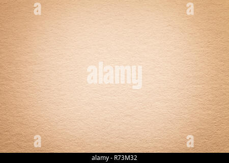 Texture of vintage light beige gold paper background with vignette. Structure of dense pearl kraft cardboard with frame. Felt gradient backdrop closeu - Stock Photo