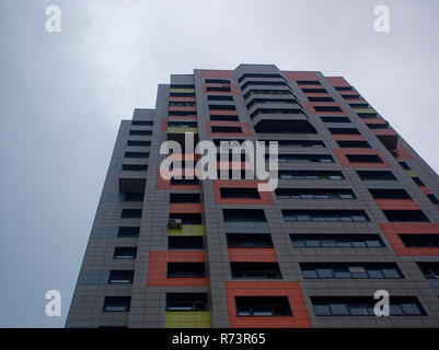 modern residential building against the cloudy sky in summer, Moscow - Stock Photo