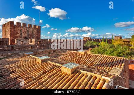Moorish castle complex, Silves, Algarve, Portugal - Stock Photo