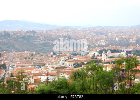 Aerial view of of Sucre, Bolivia with mountains visible in the background. City view. - Stock Photo