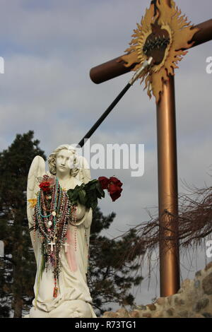Our Lady of Guadalupe Shrine for Mexican immigrants and immigration lance thrown through the sacred heart cross in des Plaines, Illinois, Nuestra Señora de Guadalupe, Virgin of Guadalupe - Stock Photo