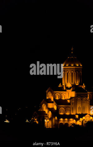 The Holy Trinity Cathedral of Tbilisi, Georgia illuminated at night. As known as Sameba, it is the main church of the Geogian Orthodox Church. - Stock Photo