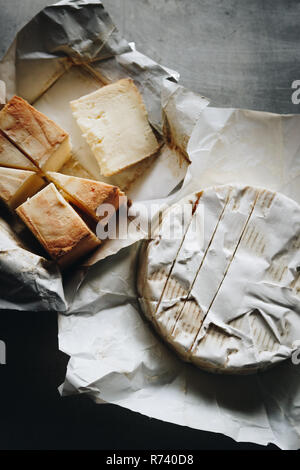 Mash some camembert or brie with butter, season it and have it with a warm slice of bread. Obatzter really is Bavarian comfort food! - Stock Photo