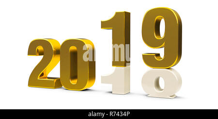 Gold 2018-2019 change represents the new year 2019, three-dimensional rendering, 3D illustration - Stock Photo