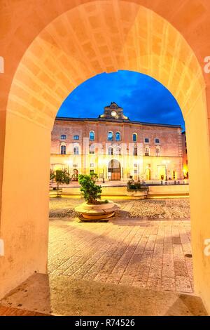 Matera, Basilicata, Italy: Frame look of the Vittorio Veneto square - Stock Photo
