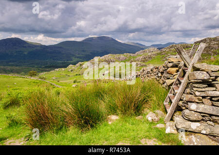 A ladder stile crosses a traditional dry stone wall on a hiking footpath on the slipes of Cnicht in the mountains of Snowdonia. - Stock Photo