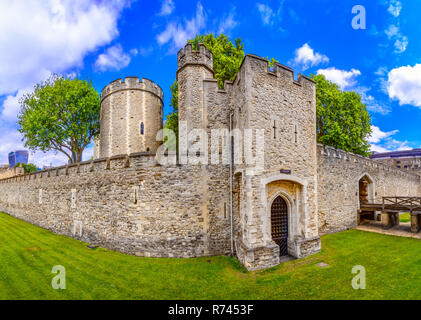 London, The United Kingdom of Great Britain: Tower of London, UK, seen from the exterior walls - Stock Photo