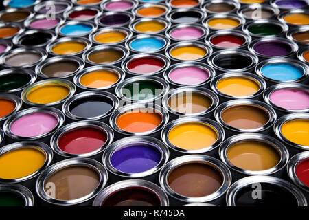 Colorful paint cans set - Stock Photo